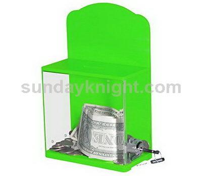 Acrylic charity box with lock