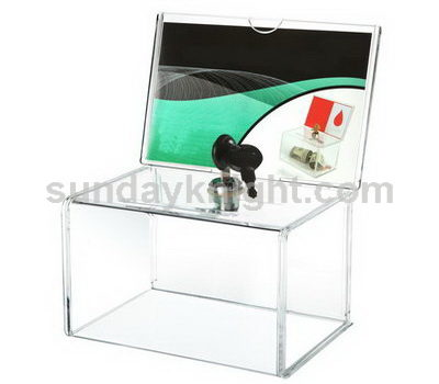clear acrylic charity box with lock