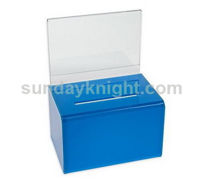 Plexiglass donation box - blue