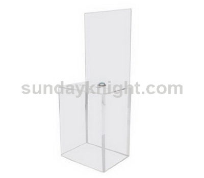 Clear plastic donation box