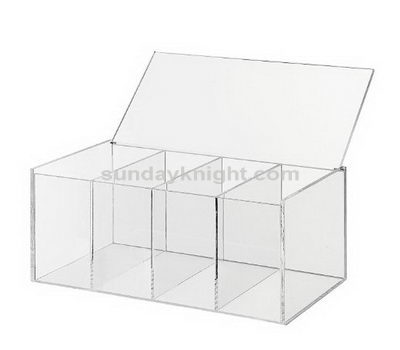 Clear acrylic boxes with hinged lids