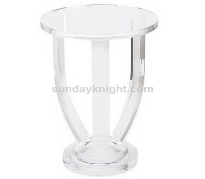 Clear round side table