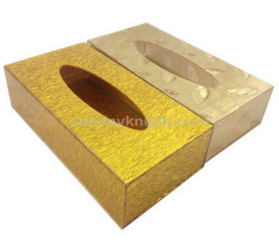Gold acrylic tissue box