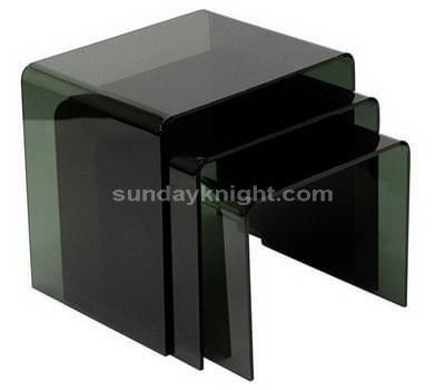 Transparent black acrylic nesting tables