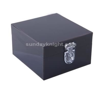 black acrylic box with hinged lid