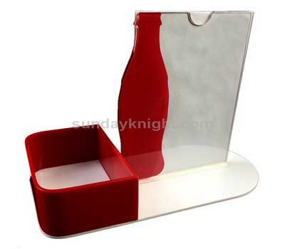 Acrylic menu stand with tissue holder