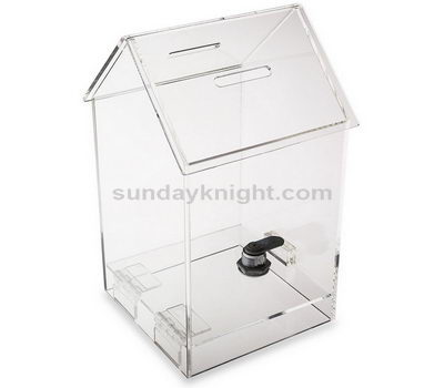 House shaped clear acrylic donation box