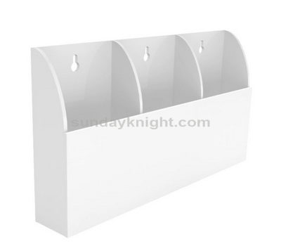 Wall mount white acrylic brochure holder