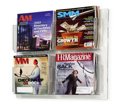 Clear acrylic wall-mount brochure holder