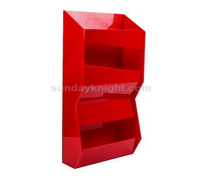 Red acrylic display shelf for retail