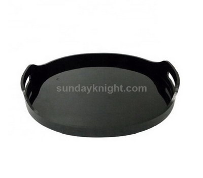 Round black acrylic tray with handle