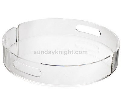 Clear round acrylic tray with handle