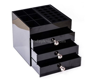 Custom black acrylic drawer box for makeup