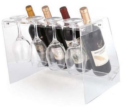 Custom acrylic wine bottle and glass holder