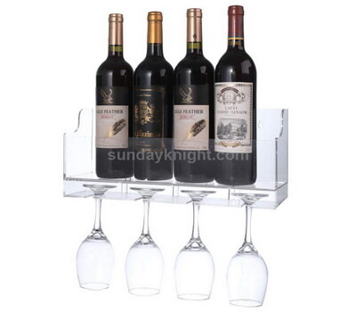 Wall mounted wine bottle and glass holder