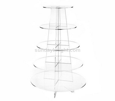 5 Tier Round Clear Acrylic Cupcake Stand