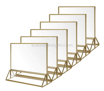 Clear Acrylic Sign Holder with Gold Borders