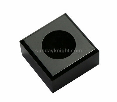 Black acrylic candle holder block