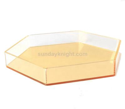 Custom acrylic hexagon food serving tray