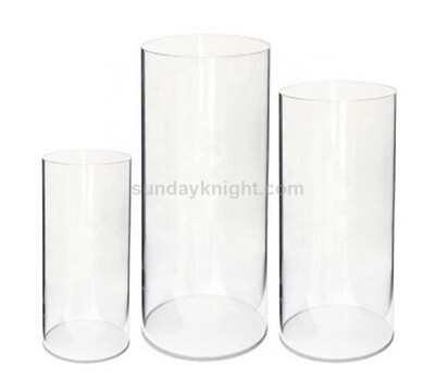 Clear acrylic round cylinder pedestal display