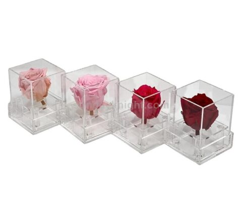 SKAB-182-A Custom single rose box clear acrylic perspex flower box wholesale