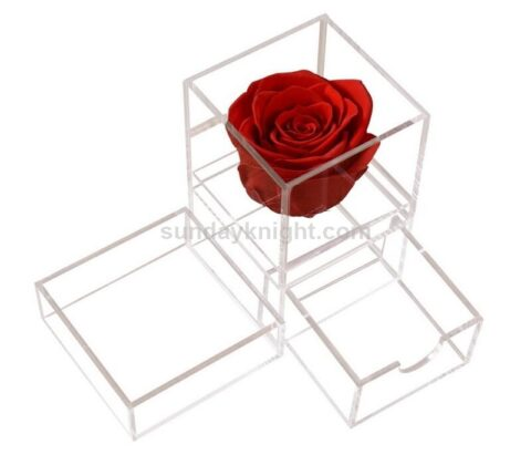 SKAB-182-B Custom single rose box clear acrylic perspex flower box wholesale