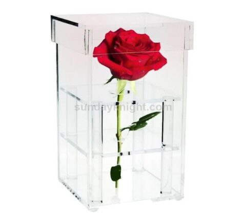 SKAB-182-C Custom single rose box clear acrylic perspex flower box wholesale