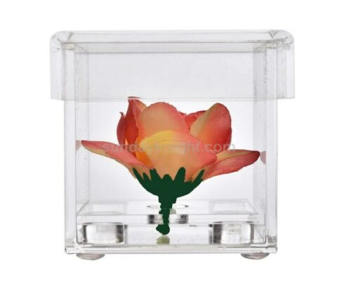 Custom single rose box clear acrylic perspex flower box wholesale