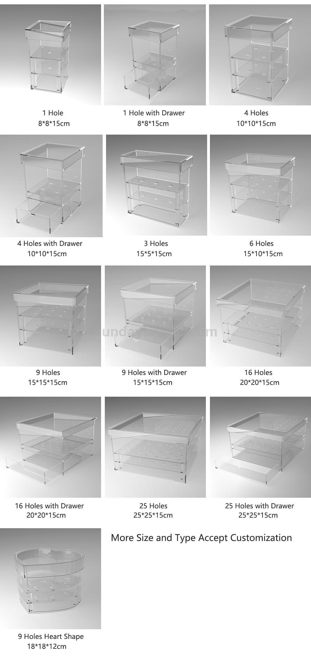 Acrylic flower rose box standard dimension