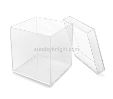 Custom acrylic cube display 5 sided box with lid wholesale