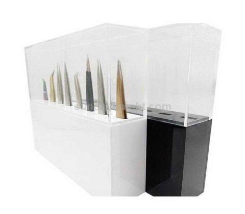 Custom acrylic tweezer stand eyelash extension tweezer holder box with cover
