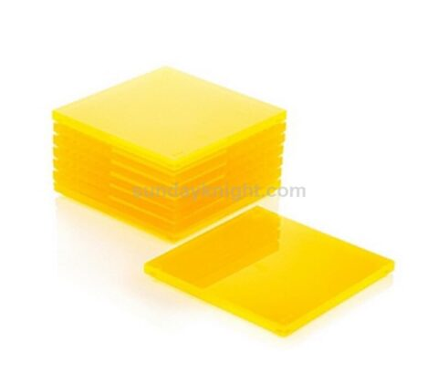 Lucite Neon Yellow Coaster Fluorescent Yellow Acrylic Square Disc Coaster