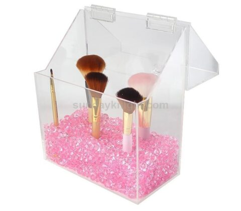 SKMD-426-1 Covered Makeup Brush Holder with Dustproof Lid Pearls Beads