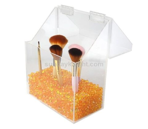 SKMD-426-2 Covered Makeup Brush Holder with Dustproof Lid Pearls Beads