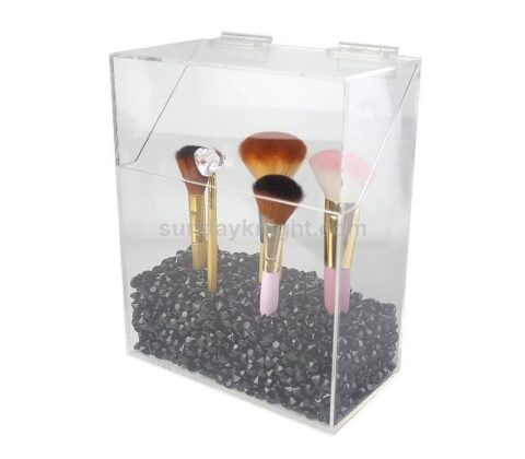 SKMD-426-4 Covered Makeup Brush Holder with Dustproof Lid Pearls Beads