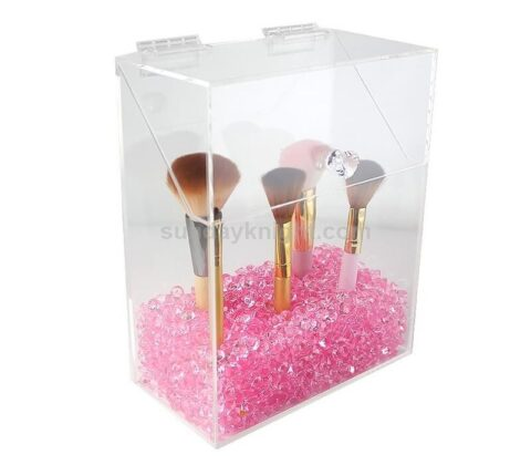 Multi-Color Crystal Beads Transparent Makeup Organizer Cosmetic Storage Hot Selling Acrylic Makeup Brush Stand Holder With Lid