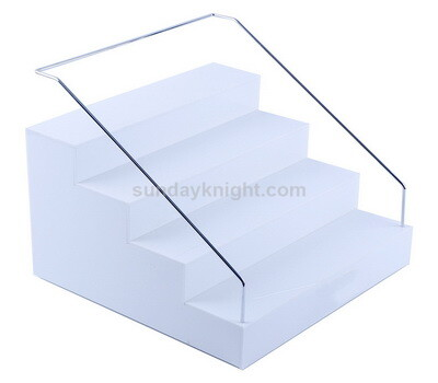 White acrylic cosmetics makeup display riser stand