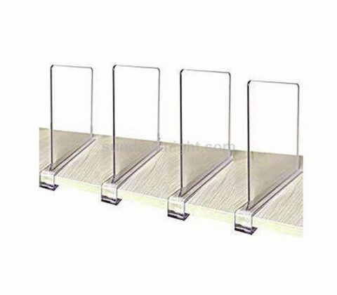 Custom Size Adjustable Clear Acrylic Shelf Divider for Closet and Library