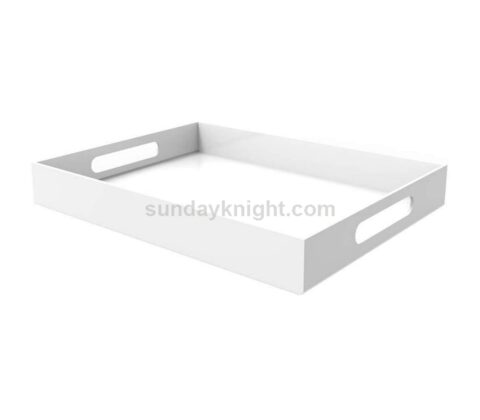 Custom white acrylic serving tray with handles wholesale