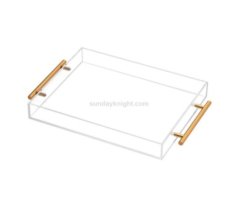 SKAT-132-1 Custom lucite acrylic serving tray with handles wholesale