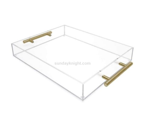 Custom lucite acrylic serving tray with handles wholesale