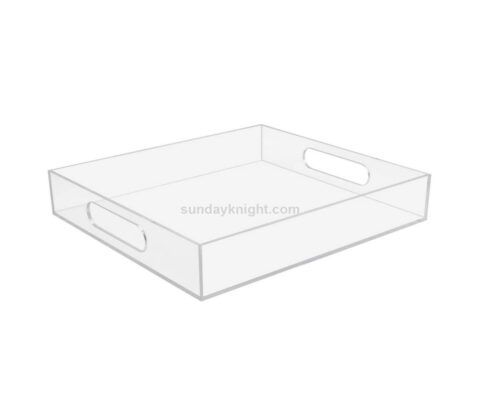 Custom large lucite acrylic serving tray with handles wholesale