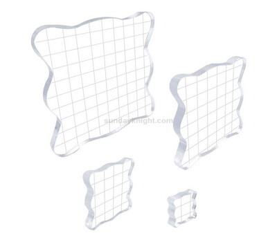 SKCA-073-1 Custom acrylic stamp blocks clear stamping blocks tools with grid lines