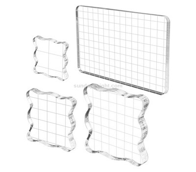 Custom acrylic stamp blocks clear stamping blocks tools with grid lines