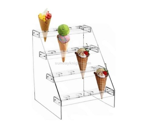 Clear acrylic ice cream cone display rack stand wholesale