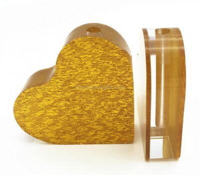 Custom gold and clear acrylic heart shaped vase blocks