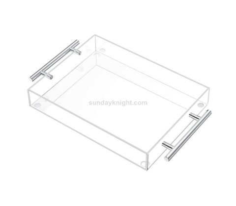 Clear Serving Tray Decorative Tray with Silver Handles