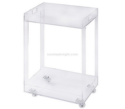 Clear Customized Acrylic Kitchen Bar Cart On Casters Storage Trolley