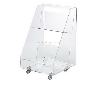 Custom clear acrylic display stand holder with castor